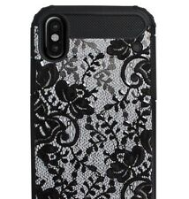 For iPhone X - HARD RUGGED HYBRID ARMOR IMPACT CASE COVER BLACK LACE FLOWERS