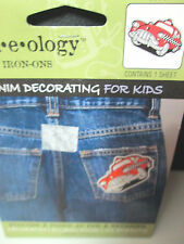 """Plaid Jean-e-ology Flocked Iron-on Transfer Red Taxi Cab - 3 1/4"""" by 4 1/2"""""""