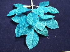 18 Vintage Millinery Flower Leaves Lush Velvet Teal Blue Green 1.5x2.5  KE