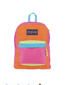 JanSport Super Break Fluorescent Pink/Orange Backpack