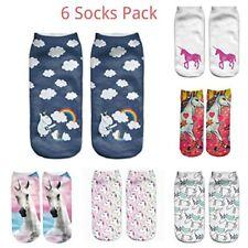 6 Socks Pack Unicorn 3D Print Polyester Socks Woman Kids Unisex Low Cut Ankle