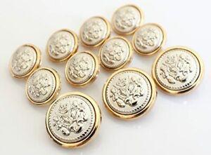 11 Pieces Polished Gold Metal Blazer Button Set Lion for Suits,Coat Jacket