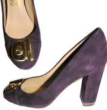 $650 SALVATORE FERRAGAMO Purple Suede Gold Logo Heel Pump Shoe 7 -37