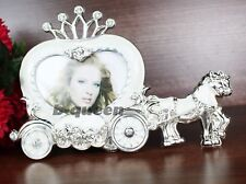 Glossy Heart Shaped & Crown With Crystal Photo Frame For Home Decor Wedding Gift