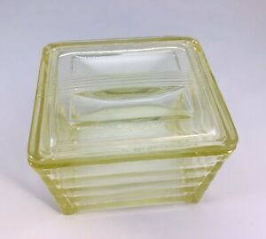 Glasbake Ovenware Refrigerator Dish Clear With Lid Yellow Tint Vintage