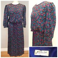 BERKERTEX Vintage Tea Dress Pleated Ribbon Belt Floral Size 12