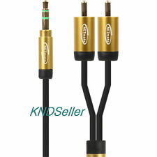 1m 3FT Slim Premium Gold 3.5mm Stereo Male to 2 RCA Plug Cable SmartPhone Iphone