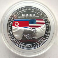 Singapore 2018 USA & Korea Summit 1oz Silver Medal,Proof