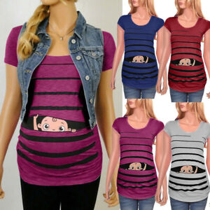 Maternity Funny Baby Print Striped Short Sleeve T-shirt Pregnant Tops S-3XL