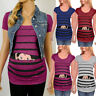 Maternity Cute Funny Baby Print Striped Short Sleeve T-shirt Pregnant Tops S-3XL