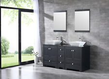 "60"" Double Bathroom Vanity Cabinet Ceramic Sink w/ Faucet Drain Mirror Black"