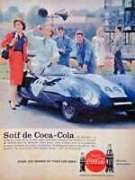 PUBLICITÉ PRESSE 1954 SOIF DE COCA COLA POUR LES JEUNES PILOTES DU 24 H DU MANS