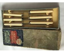 Vintage Sheffield Stainless Steel Desert Knifes Set Of 6 With Box