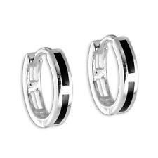 925 Silber Creolen Klappcreolen Kreolen Ohrringe Onyx Streifen Herren Damen