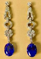 12.10CT Oval Tanzanite and Diamond Hanging Cocktail Occasion 925 Silver Earrings