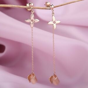 Chain cuff stud earrings Rose gold 585 /14k flower Butterfy closure NWT