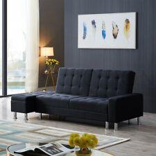 Multifunctional Linen Fabric 3 Seater Sofa Bed w/ Footstool Hidden Storage Black