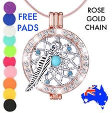Rose Gold Crystal Dreamcatcher Essential Oil Diffuser Locket Pendant Necklace