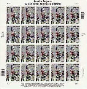 AMERICA RESPONDS STAMP SHEET -- USA #B2 (34 CENT + 11 CENT) 2002