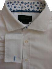 DUCHAMP LONDON Shirt Mens 15 S White - Herringbone TAILORED FIT