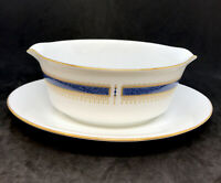 """Noritake """"BLUE DAWN"""" (Coupe) Gravy Boat with Attached Underplate Japan"""
