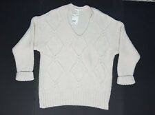 NWT H&M Women's Small White Thick Knit Shirt Sweater Long Sleeve Top Acrylic $50