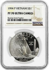 1994 P $1 Vietnam Veterans Memorial Commemorative Silver Dollar NGC PF70 UC