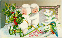 Christmas~SNOWBABIES IN HELMETS SLED DOWN HILL~TROPICAL BIRD~Antique Postcard