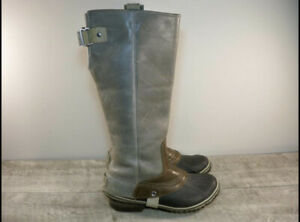 Sorel Slimpack Womens Tall Gray Shale Brown Leather Riding Winter Boots Size 7.5