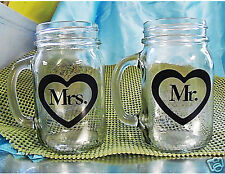Mr & Mrs Mason Jar Mug Toasting Glasses Wine Rustic Wedding Redneck Hillbilly