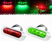 2x Red Green LED Boat Navigation Light Deck Waterproof Bow Pontoon Lights 12V