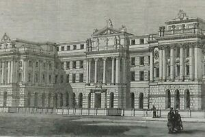1800 ANTIQUE ENGRAVING LONDON SOMERSET HOUSE WELLINGTON STREET 18CMS BY 13CMS