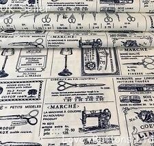 ROSE AND HUBBLE SEWING TOOLS IVORY FABRIC 100% COTTON 112CM WIDE HALF METRES