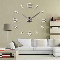 Groß Silberne Wanduhr Wandtatoo 3D Dekoration neue DIY Modern Home Clock