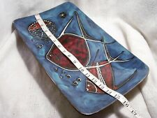 """ITALY ART POTTERY~TROPICAL FISH 15"""" TRAY~MODERNIST MCM,LEATHER WRAP,FANTONI?"""