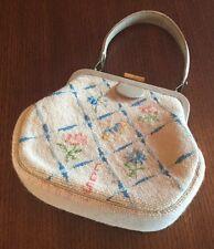 Vintage Needlepoint Petit Point Purse or Handbag Floral Pattern 1961