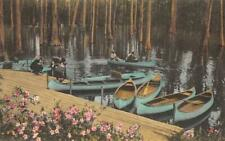 Cypress Gardens, Charleston, SC Canoes ca 1920s Hand-Colored Vintage Postcard