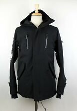 NWT 11 BY BORIS BIDJAN SABERI Black Zip Up Finger Print Hooded Raincoat L $1600
