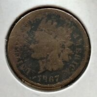 1867 Indian Head Cent Key Date Circulated One Penny  #11653