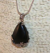 "Black Agate Onyx Teardrop Stone Pendant on 22"" Sterling Silver Chain Necklace"
