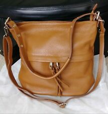 NEW Giorgio Costa Brown Soft Pebbled Leather Shouder Crossbody Strap Bag Italy