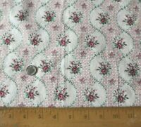 """Vintage c1930s French Doll Scale Roses In Baskets Cotton Fabric~L-16 X W-13"""""""