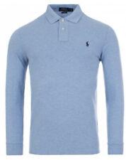 Ralph Lauren Custom Slim Fit Blue HTR Pima Cotton Long Sleeve Polo   -RRP £99