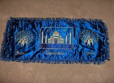 Vintage Taj Majal Table Runner Royal Blue Ornat Handwork Royal Blue 1944 India