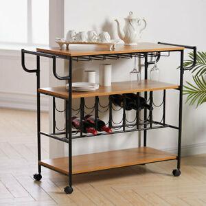 3 Tier Wood Wine Drinks Trolley Home Bar Kitchen Serving Cart Food Storage Rack