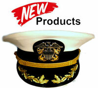 3957f17ad04 US NAVY COMMANDER CAPTAIN RANK WHITE HAT CAP AUTHENTIC NEW ALL SIZES - CP  MADE