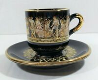 Vintage Greek Black Demitasse Cup & Saucer 24k Gold Trim Hand Made In Greece