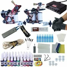 Complete Tattoo Kit 2 Machine Gun 7 color Ink Power supply needle Grip Tip SK