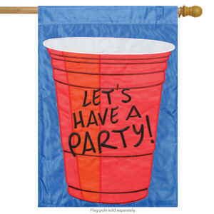 """Let's Have a Party Applique House Flag Red Solo Cup Embroidered Banner 29""""x42"""""""