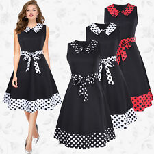 Celeb Ladies 1950s 60s Vintage Polka Dot Womens Cocktail Party Swing Dresses